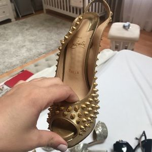 Christian louboutin Gold spiked slingback pumps